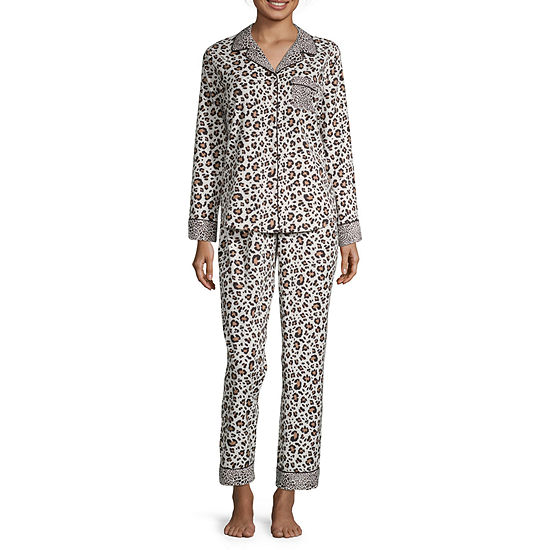 Liz Claiborne Womens Pant Pajama Set 2-pc. Long Sleeve