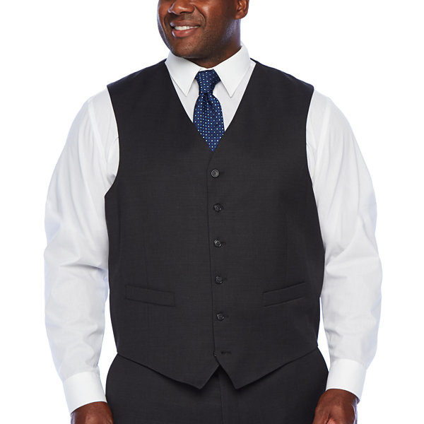 Stafford Super Mens Checked Stretch Regular Fit Suit Vest - Big and Tall