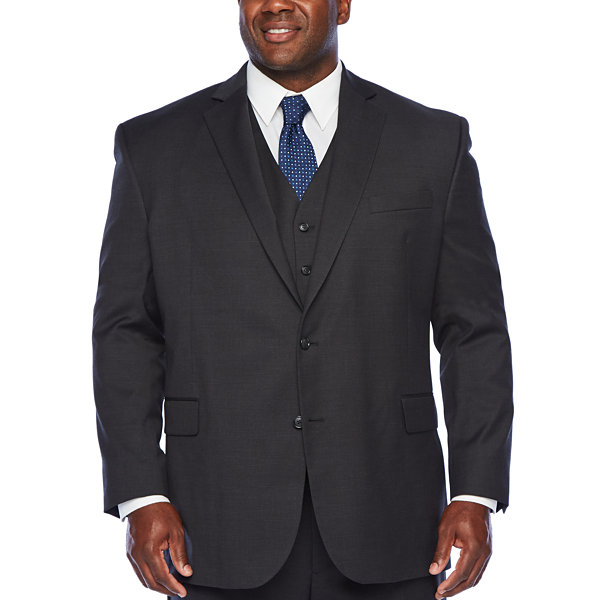 Stafford Super Mens Checked Stretch Regular Fit Suit Jacket-Big and Tall