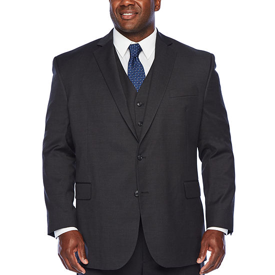 Stafford-Big and Tall Super Checked Stretch Suit Jacket