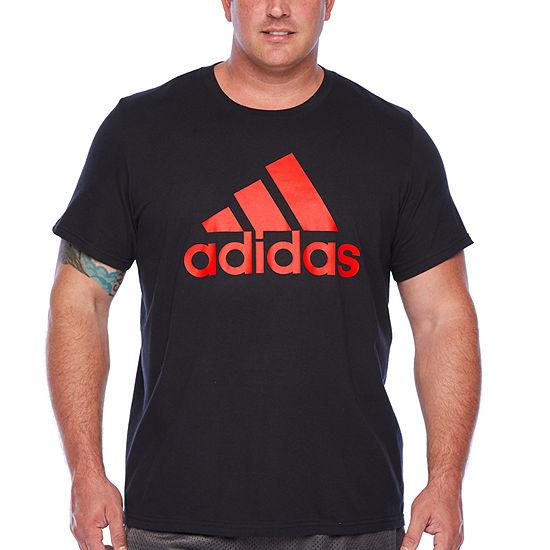 adidas Mens Crew Neck Short Sleeve T-Shirt-Big and Tall