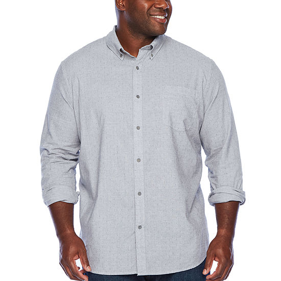 The Foundry Big & Tall Supply Co. Mens Long Sleeve Button-Down Shirt Big and Tall
