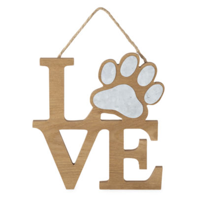 PAW & TAIL LOVE Wood and Galvanized Wall Décor