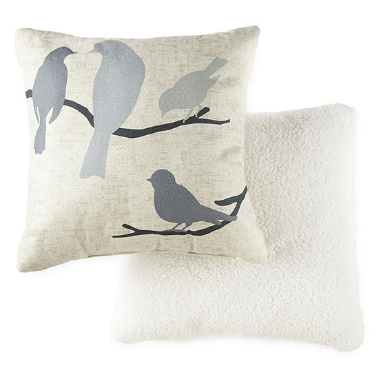 JCPenney Home Birds With Chenille/Sherpa Multi-Pack Square Throw Pillow