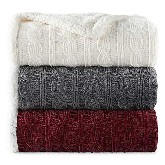 North Pole Trading Co. Faux Chenille Sherpa Knit Throw