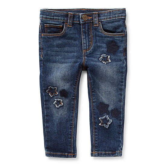 Okie Dokie Star Patch Jean Baby Girls Mid Rise Skinny Pull-On Pants