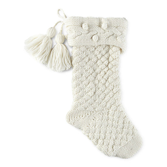 North Pole Trading Co. Enchanted Woods Knit With Tassel Christmas Stocking