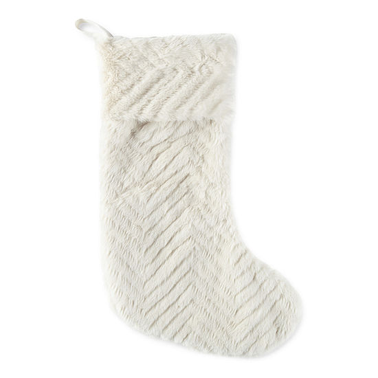 North Pole Trading Co. Enchanted Woods Chevron Embossed Faux Fur Christmas Stocking