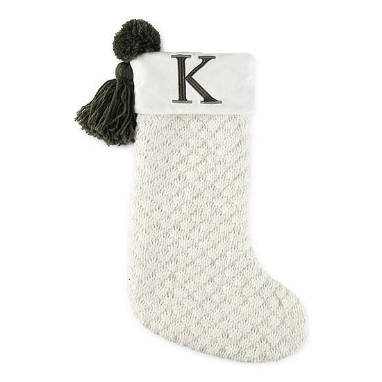 North Pole Trading Co. Enchanted Woods White Knit & Tassel Monogram Christmas Stocking