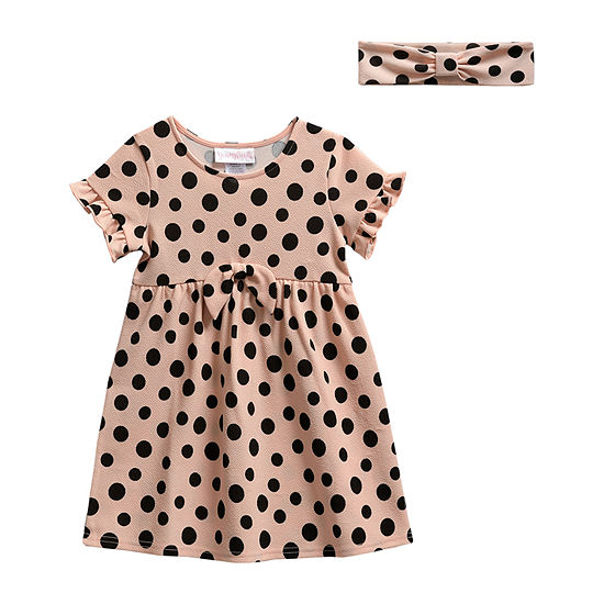 Sweetheart Rose Toddler Girls Short Sleeve Polka Dot A-Line Dress