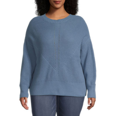 a.n.a-Plus Womens Crew Neck Long Sleeve Pullover Sweater