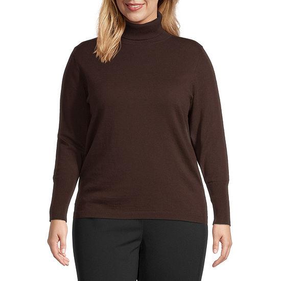 Worthington Womens Long Sleeve Turtleneck Sweater - Plus