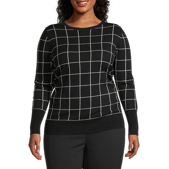 Worthington Womens Long Sleeve Crew Neck Sweater - Plus