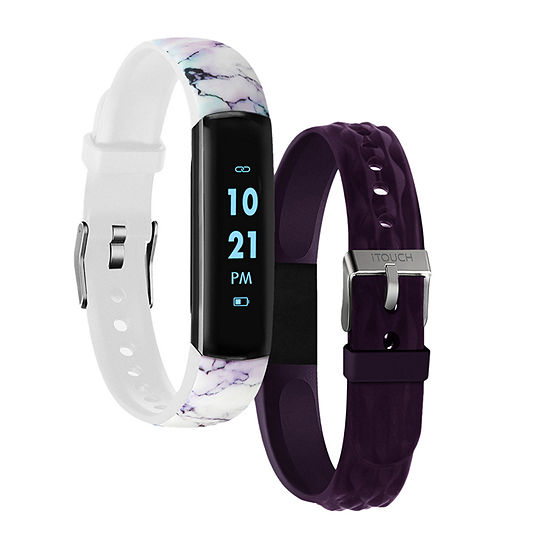 Itouch Slim Womens Fitness Activity Tracker with Bonus Interchangeable Strap: White Printed / Purple -7451b-51-H10