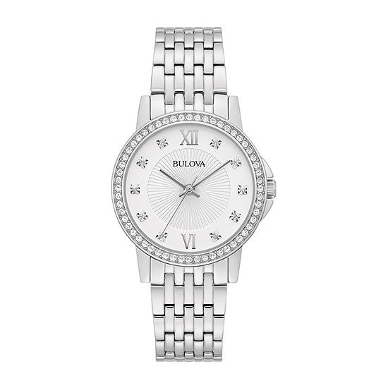 Bulova Womens Crystal Accent Silver Tone Stainless Steel Bracelet Watch - 96l297
