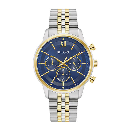 Bulova Mens Chronograph Two Tone Stainless Steel Bracelet Watch - 98a274
