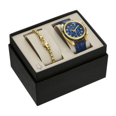 Bulova Mens Chronograph Blue Leather Strap Watch 98k110