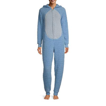 Disney Mjc Womens Plush Eeyore Long Sleeve One Piece Pajama, Large , Blue