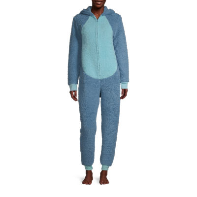Disney Mjc Womens Plush Stitch Long Sleeve One Piece Pajama