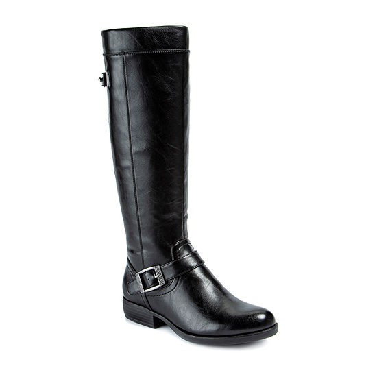 Yuu Womens Jaxette Riding Boots Stacked Heel Wide Width