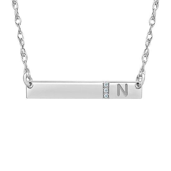 Womens White Diamond Accent 10K White Gold Pendant Necklace