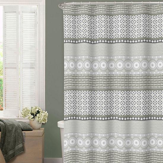 Zenna Home Geo Border Shower Curtain