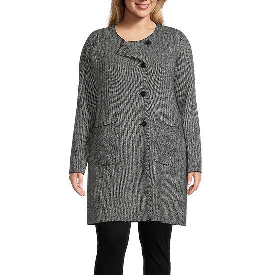 Liz Claiborne Tweed Sweater Coatigan - Plus