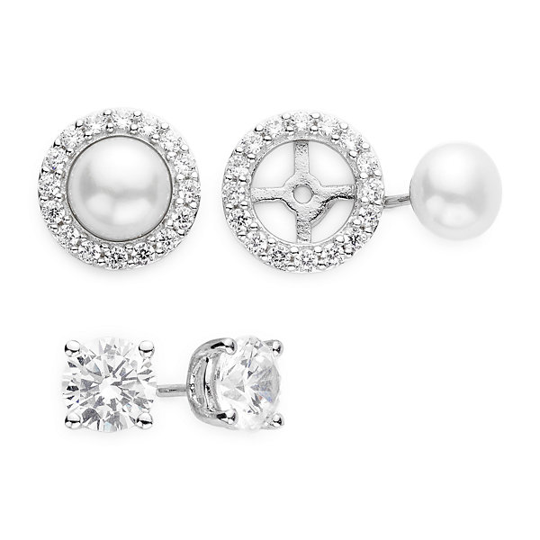 DiamonArt® Cubic Zirconia and Cultured Freshwater Pearl 3 piece Earring Set