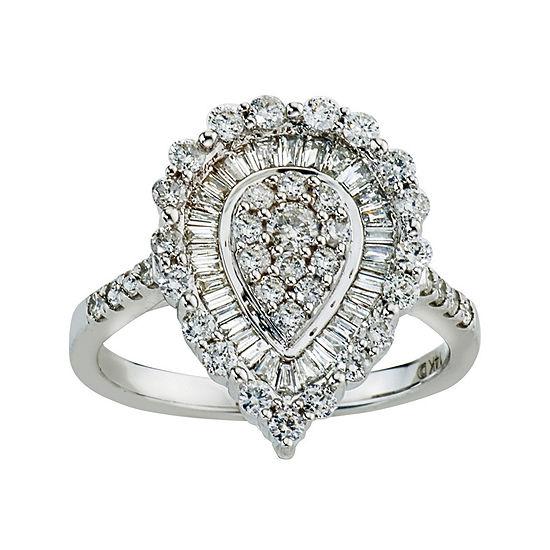 1 CT. T.W. Diamond 14K White Gold Pear-Shaped Ring
