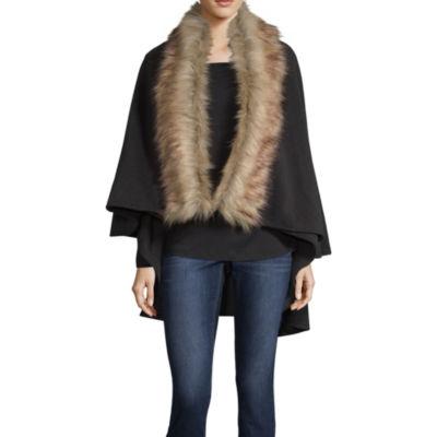 Liz Claiborne Faux Fur Circle Ruana Cold Weather Wrap