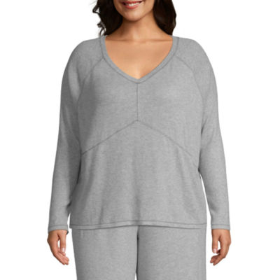 Ambrielle Long Sleeve Hacci Pajama Top-Plus