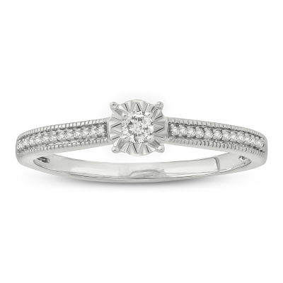 Promise My Love Womens 1/6 CT. T.W. Genuines White Diamond 10K White Gold Promise Ring