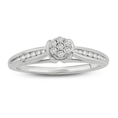 Promise My Love Womens 1/5 CT. T.W. Genuine White Diamond 10K White Gold Promise Ring