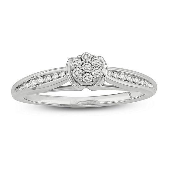 Promise My Love Womens 1/5 CT. T.W. Genuine White Diamond 10K White Gold Promise Ring