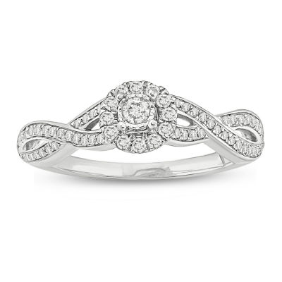 Promise My Love Womens 1/4 CT. T.W. Genuine White Diamond 10K White Gold Promise Ring