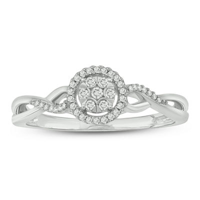 Promise My Love Womens 1/10 CT. T.W. Genuine White Diamond 10K White Gold Promise Ring