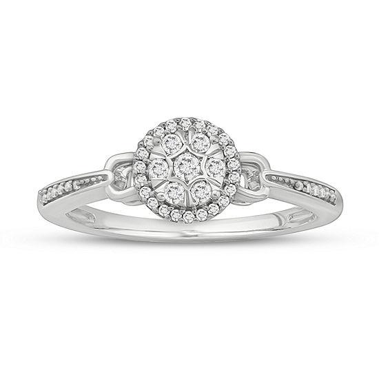 Promise My Love Womens 1/6 CT. T.W. Genuine White Diamond 10K White Gold Promise Ring