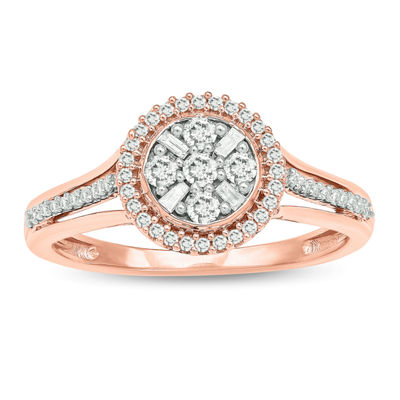 Promise My Love Womens 1/3 CT. T.W. Genuine White Diamond 10K Rose Gold Promise Ring