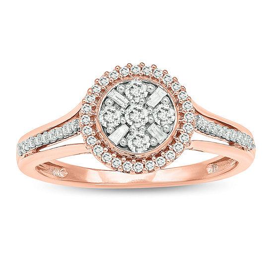 Promise My Love Womens 1/3 CT. T.W. Genuine White Diamond 10K Rose Gold Promise Ring