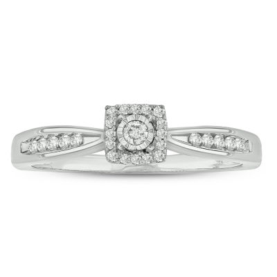 Promise My Love Womens 1/6 CT. T.W. Genuine White Diamond 10K White Gold Promise Ring