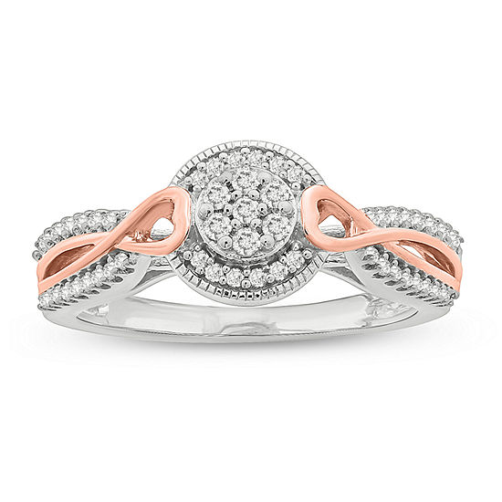 Promise My Love Womens 1/4 CT. T.W. Genuine White Diamond 14K Rose Gold Over Silver Sterling Silver Promise Ring