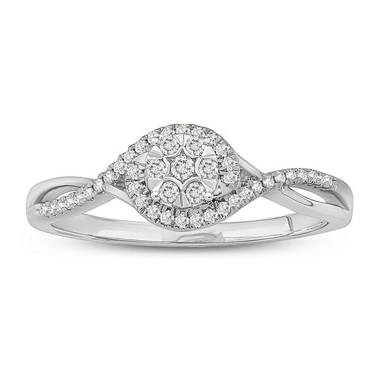 Promise My Love Womens 1/6 CT. T.W. Genuine White Diamond Promise Ring