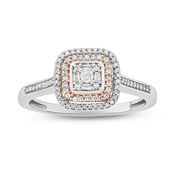Promise My Love Womens 1/5 CT. T.W. Genuine White Diamond 14K Rose Gold Over Silver Stainless Steel Promise Ring