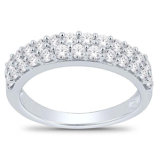 Womens 4.5MM 1 CT. T.W. Genuine White Diamond 14K White Gold Wedding Band