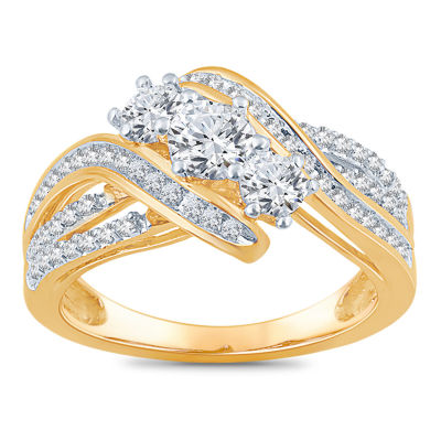 Love Lives Forever Womens 1 CT. T.W. Genuine White Diamond 14K Gold Engagement Ring