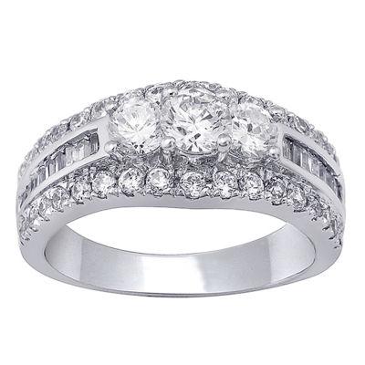Love Lives Forever Womens 1 1/2 CT. T.W. Genuine White Diamond 14K White Gold Engagement Ring