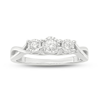 Love Lives Forever Womens 1/5 CT. T.W. Genuines White Diamond 10K White Gold 3-Stone Engagement Ring