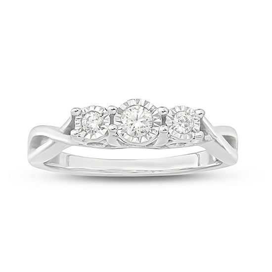 Love Lives Forever Womens 1/5 CT. T.W. Genuine White Diamond 10K White Gold 3-Stone Engagement Ring