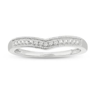 Womens 2mm 1/10 CT. T.W. Genuine White Diamond 10K White Gold Anniversary Band