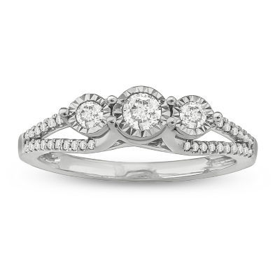 Love Lives Forever Womens 1/3 CT. T.W. Genuine White Diamond Sterling Silver 3-Stone Ring